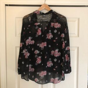 Tops - Black Sheer Button Down Blouse